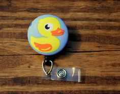 Rubber Duck Badge, Duckie Badge, Animal Badge, Retractable Badge,Swivel Clip,RN Badge, CnA Badge, Coach Badge, Teacher Badge, Fabric Badge by TheNerdyFatCat on Etsy