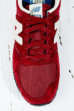 New Balance 420 Runner Suede Trainers in Red at Urban Outfitters