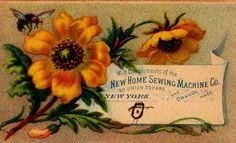 Trade-Card-New-Home-Sewing-Machine-Nice-Color-Litho-Flowers