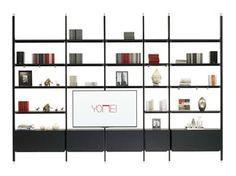 Libreria a giorno con porta tv MAGIC MATRIX | Libreria con porta tv - YOMEI