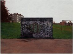 This is another painting by George Shaw. I like the centred brick wall in the middle of the painting with old graffiti on that has been damaged and aged. Once again there is a block of flats in the far background. Urban Landscape, Landscape Art, Landscape Paintings, Royal College Of Art, Urban Legends, Gcse Art, Photorealism, Built Environment, Art Studies