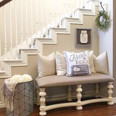 Stair decor, small entryway bench, entryway stairs, bench entry way, bench Small Entryway Bench, Foyer Bench, Entryway Stairs, Bench Decor, Stair Decor, Entry Foyer, Entryway Decor, Entryway Ideas, Entryway Console