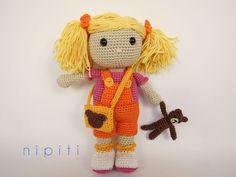 My Best Friend Doll with Teddy Bear and a bag  Pattern PDF Amigurumi Crochet by nipiti