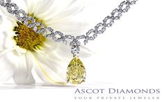 Pear shaped fancy yellow canary diamond drop necklace, custom Catherine Ryder Design for Ascot Diamonds