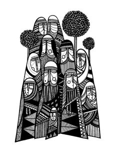 black and white illustrations by Polish artist Marh. Combining elements of urban art, human nature, medieval paintings, and tribal patterns, Marh's style celebrates eastern heritage influences found in Polish culture. Black And White Illustration, Graphic Illustration, Medieval Paintings, Madhubani Painting, Affinity Designer, Tribal Patterns, Arte Popular, Linocut Prints, Tribal Art