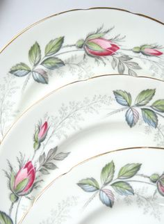 Bone China Tea Plates  Bridal Rose  Paragon
