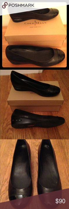 Cole Haan Air Bria Cap Toe Wedge Like new, only worn once, Cole Haan wedge round toe pumps with patent leather capped toe.  The heel is 1-1.5inches wt Nike Air heel technology.  Flexible rubber grip soles.  Box included. No trades. Cole Haan Shoes Wedges