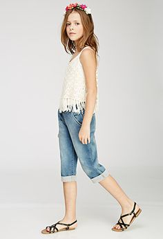 Cuffed Denim Drawstring Pants (Kids)   Forever 21 girls   #f21kids