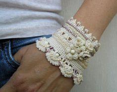 White Cuff Bracelet Crochet Jewelry Bridal jewelry by stasiSpark