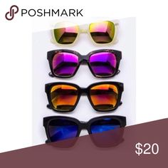 🆕Bold Mirrored Sunglasses Two trendy shades (as shown in pic); Price is for one pair; Only the top & bottom sunglasses are available;  ALL of my proceeds go to my son who is sick. WILA Accessories Sunglasses