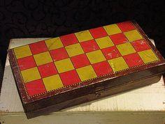 SALE WAS 65.00 Rare and Fun Antique Checker Board Candy Tin Box Don Confectionery England Checkerboard Game Board