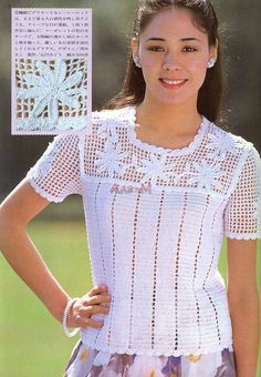tops in filet croche patterns with graphics