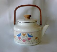Vintage Enamelware Tea Kettle with Country Details by chriscre