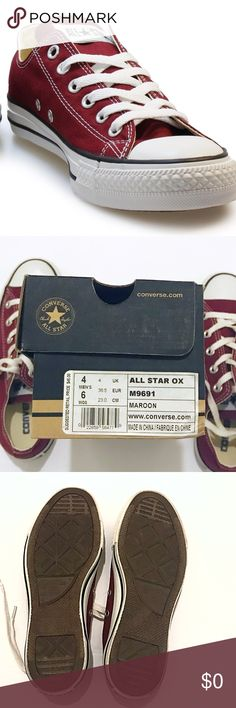 NWB Original Maroon Converse Lace Up Size 6  NWB Original Chuck Taylor All Star Maroon Converse   ** Never Wore, all perfect / new condition other than a few black marks which should come off easy on edges, very minor, have been in box entire time **     • Canvas upper w/ rubber toe cap   • All Star patch logo on upper tongue    • Rubber sole branded on rear & bottom     ✔️If the box is a must have please let me know. I will try & accommodate w/ shipping   Thank You For Visiting Converse…