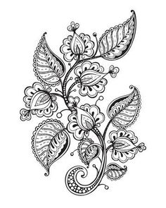 Modern Romance Coloring Book Best Of Vector Illustration Hand Drawn Fancy Flower Branch and Leaves Stock Vector Image Mandala Drawing, Mandala Tattoo, Awareness Tattoo, Henna Drawings, Free To Use Images, Flower Branch, Modern Romance, Flower Doodles, Mandala Coloring