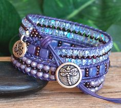 Lavender Purple Tile and Crystal Beaded Leather Triple Wrap Bracelet, Artisan Jewelry, Gift For Her Homemade Jewelry, Diy Jewelry, Silver Jewelry, Jewelry Design, Jewelry Making, Crystal Beads, Crystals, Triple Wrap, Leather Cord