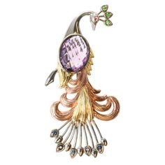 Michael Valitutti Tri-color Silver Amethyst, Blue Sapphire, Chrome Diopside and Pink Sapphrie Peacock Brooch