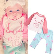 29f789178a9 Newborn Toddler Infant Baby Girl Clothes Set Long Sleeve T-shirt Tops+Pants  Outfit Xmas Children Girls Christmas Winter Clothes(China (Mainland))