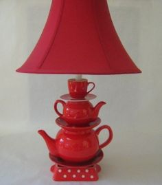 Teapot Lamp - Red Stacked Teapots, Red and White Polka Dot Plates, Tea Cup and Saucer.