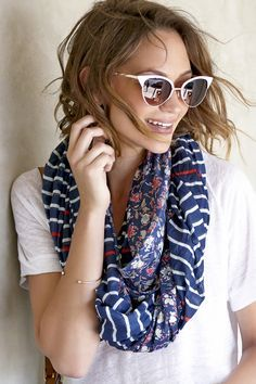 Sunglasses & Striped & floral infinity