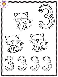 Preschool Numbers and Letters: Trace and Color Preschool Number Worksheets, Numbers Preschool, Learning Numbers, Preschool Curriculum, Kindergarten Math, Learning Activities, Preschool Activities, Childhood Education, Kids Education