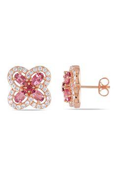 Pink Tourmaline & White Sapphire Earrings