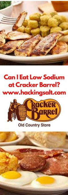 Can I eat low sodium at Cracker Barrel- A guide to the foods you can eat and sta. - Can I eat low sodium at Cracker Barrel- A guide to the foods you can eat and stay low sodium. Sodium Free Recipes, Salt Free Recipes, Low Sodium Snacks, Low Sodium Diet, Cholesterol Diet, Low Sodium Fast Food, Low Carb, Kidney Recipes, Davita Recipes