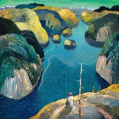 Paul Jorgensen - Reflecting on an Endless Coastline Oil Paintings, Landscape Paintings, Illustration Art, Illustrations, Canadian Art, True North, Sea Art, Nature Tree, Auction Items