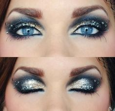 Dramatic crystal accented smokey eye with silver and gold glitter.