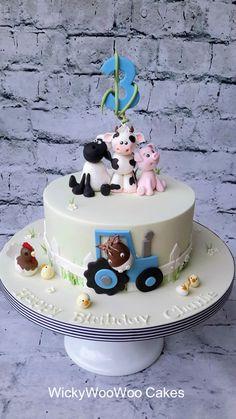 Farm Friends Created by WickyWooWoo Cakes. Farm Birthday Cakes, Farm Animal Birthday, Homemade Birthday Cakes, 3rd Birthday, Farm Animal Cakes, Farm Animals, Rodjendanske Torte, Happy Anniversary Cakes, Friends Cake