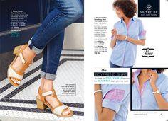 Gingham-Trim Chambray Shirt & Mixed Media Chunky Heel Sandal Order yours today http://hslocomb.avonrepresentative.com/ $29.99 each