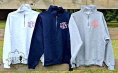 Monogrammed Sweatshirt Quarter Zip Pullover - $38.00 Size: Small Color: Navy Font: Master Circle (in Coral aLe)