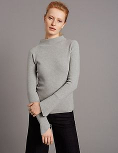 Flare Cuff Turtle Neck Long Sleeve Jumper | M&S
