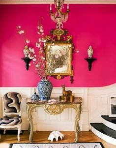 Pink, white, and gold as a possible color combo for the bathroom? Maybe not thiiiis pink