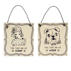 This fun plaque is made out of metal and features a cream and black illustrated design. Dog Lover Gifts, Dog Lovers, Making Out, Reusable Tote Bags, Metal, Illustration, Dogs, Fun, Cream