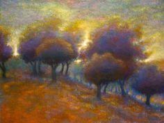 """""""In the Judean Hills""""  oil on canvas by Neil Waldman. The artist says, """"This one comes from the many memories of the days when I stood on the hillsides outside Jerusalem, at a place called Neve Ilan . . . looking out across the forests and meadows, past hills covered with wildflowers of a thousand colors."""""""