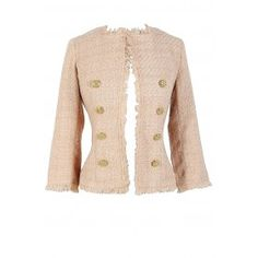 Classic Tweed Chanel-Inspired Blazer In Shimmering Sand