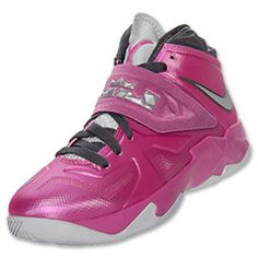 Girls' Grade School Nike LeBron Zoom Soldier 7 Basketball Shoes | FinishLine.com | Pink Fire/Metallic Silver/Dark Grey