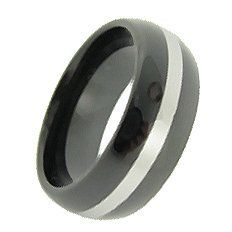 8MM Domed Black & White Striped Tungsten Carbide Wedding Band (sizes 5.5, 6, 6.5, 7, 7.5, 8, 8.5, 9, 9.5, 10, 10.5, 11, 11.5, 12, 13, 14, 15) SilverCloseOut. $29.95
