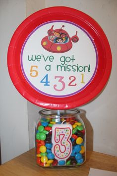 M&M guessing jar for little einsteins party