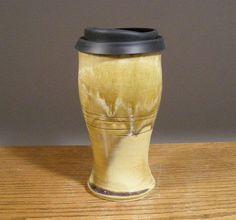 18 oz , To Go Mug ,Handmade Pottery, Pottery Mug With Lid , Ceramic Travel Mug , Commuter Mug , Pottery Travel Mug , Reusable Silicone Lid