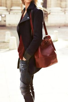 Slouchy denim + tailored coats.