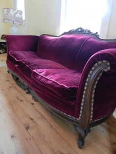 Antique Couch ~ Wow, we have a couch like this, what a cool way to reupholster!!