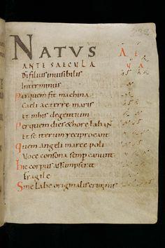 Carolingian minuscule w/ chant neumes in the margin, 9th c.?