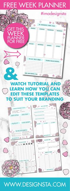 Download your free Peony Week Planner printable and also watch the tutorial on how you can quickly and easily edit planner printables in Designsta to suit your branding.