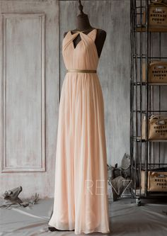 2015 Blush Bridesmaid dress Peach Wedding dress Long by RenzRags