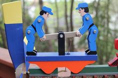 Train Engine and Hand Car Wooden Folk Art Wind Whirligig