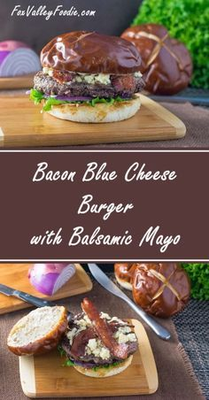 This juicy Bacon Blue Cheese Burger with Balsamic Mayo features the briny flavor of crumbled blue cheese, crisp bacon, and the sharp tang of balsamic vinegar! Bacon Blue Cheese Burger with Balsamic Mayo - Bacon Blue Cheese Burger with Balsamic Mayo Burger Salad, Burger And Fries, Turkey Burgers, Veggie Burgers, Grilling Recipes, Beef Recipes, Cooking Recipes, Hamburger Recipes, Barbecue Recipes