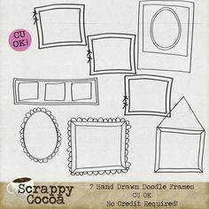 CU Doodle Frames Vol1 - $2.80 : Digital Scrapbooking Studio Doodle Frames, Digital Scrapbooking, How To Draw Hands, Doodles, Studio, Hand Reference, Studios, Donut Tower, Doodle