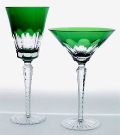 Emerald Crystal Cocktail glass's - love these, great for head table at a emerald green wedding